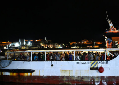 83 migrants were evacuated from the Open Arms ship on Wednesday (Reuters)