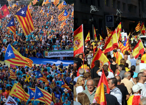 A pro-independence rally (left) and one in favor of Spanish unity (by ACN)