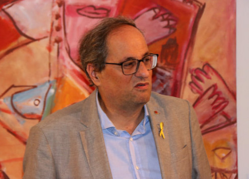 President Quim Torra at the opening of a new exhibition of the artist Joan Jordà (by Gerard Vilà)