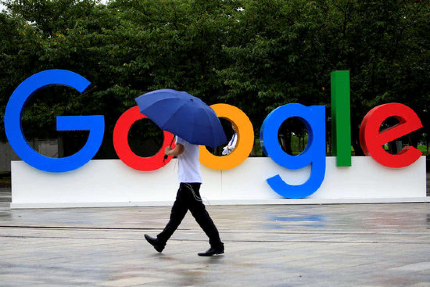 Letters spell 'Google' during the World Artificial Intelligence Conference in Shanghai (courtesy of Reuters)