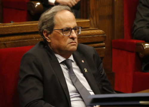 Catalan president Quim Torra in the Catalan parliament (by Guillem Roset)