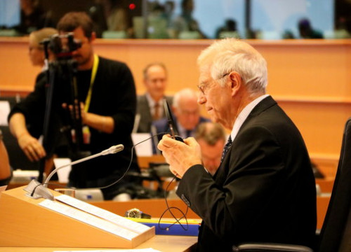 Josep Borrell facing a hearing at the European Parliament on October 7, 2019 (by Laura Pous)