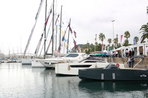 Some of the boats on show at the Barcelona Boat Show in Port Vell (by Aina Martí)
