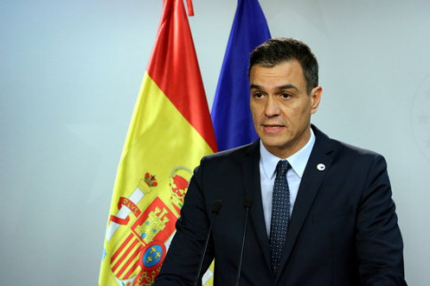 Spain's acting president Pedro Sánchez at a EU summit (by Nazaret Romero)