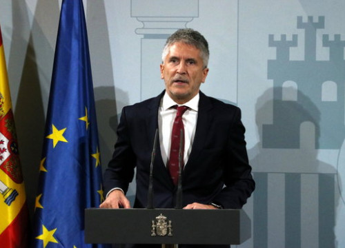 Spanish Interior minister Fernando Grande-Marlaska at a press conference, October 19, 2019 (by Maria Belmez)