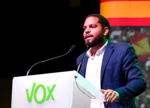 The leader of Vox in Catalonia, Ignacio Garriga, in a campaign act on October 31, 2019 (by Blanca Blay)