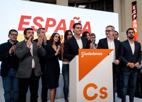 Ciutadans leaders at their electoral base in Madrid for the November 2019 general election (by Cs)
