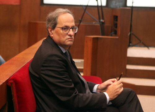 The Catalan president, Quim Torra, in the dock on November 18, 2019 (by Pere Francesch)