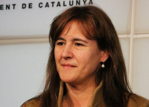Junts per Catalunya MP Laura Borràs in a press conference in the Catalan Parliament (by Bernat Vilaró)