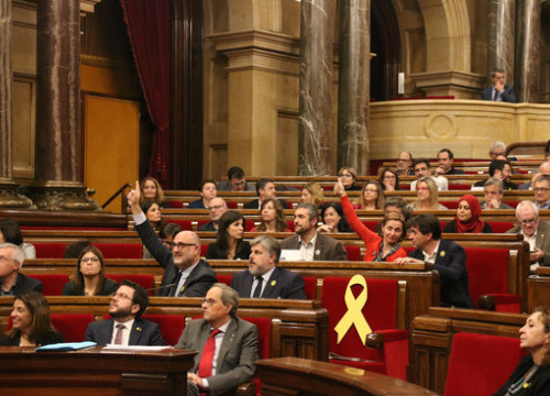 Members of the Catalan parliament vote for a motion on November 26, 2019 (by Mariona Puig)