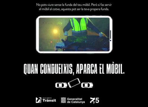 Poster for the new campaign against using your mobile phone while driving (by Catalan Transit Service)