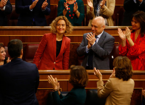 Socialist lawmakers cheer colleague Meritxell Batet as she is reelected as speaker of the Spanish congress (by Javier Barbancho)