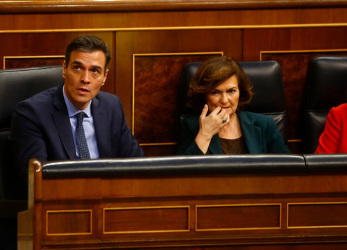 Acting Spanish president and vice president, Pedro Sánchez and Carmen Calvo, sit in the Spanish congress on December 3, 2019 (by Javier Barbancho)