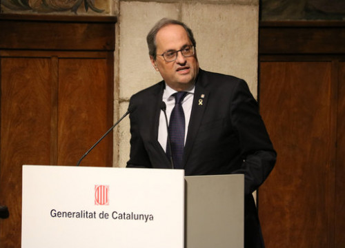 Quim Torra speaks during a government act in January 2020 (by Marta Casado Pla)