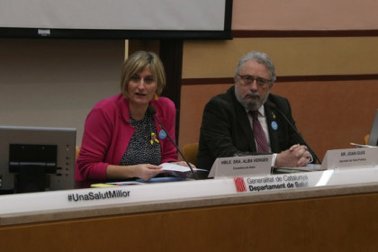 Joan Pla Guix, Secretary of Public Health, and Alba Vergés, Minister of Health, at a press conference on January 13, 2020 (by Elisenda Rosanas)