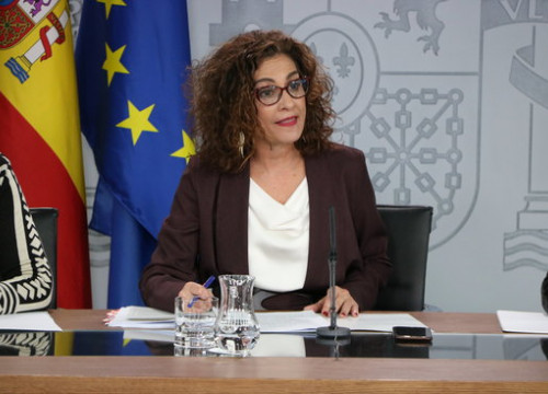 Spanish government spokesperson María Jesús Montero during a press conference on January 21, 2020 (by Andrea Zamorano)