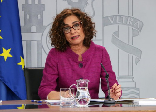 Spokesperson for the Spanish government, María Jesús Montero, during a press conference in January, 2020 (by Andrea Zamorano)
