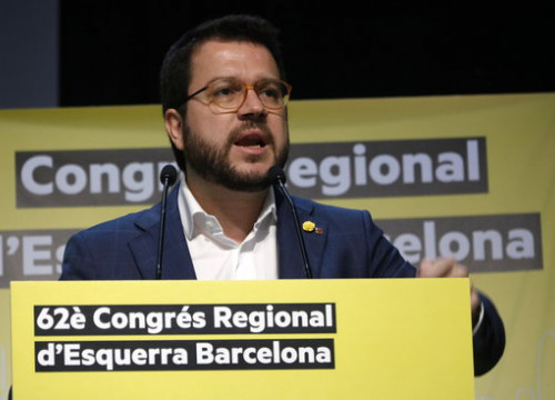 Catalan vice president Pere Aragonès speaks during the ERC regional congress in Barcelona, February 1, 2020 (by Guillem Roset)