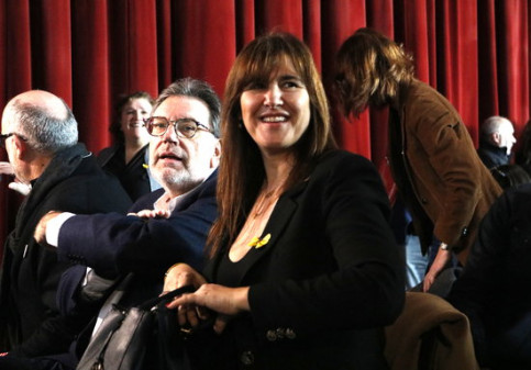 JxCat spokesperson in Madrid, Laura Borràs, and Senator Josep Lluís Cleries at the 'We're ready' event at Born CCM, February 8, 2020 (by Sílvia Jardí)