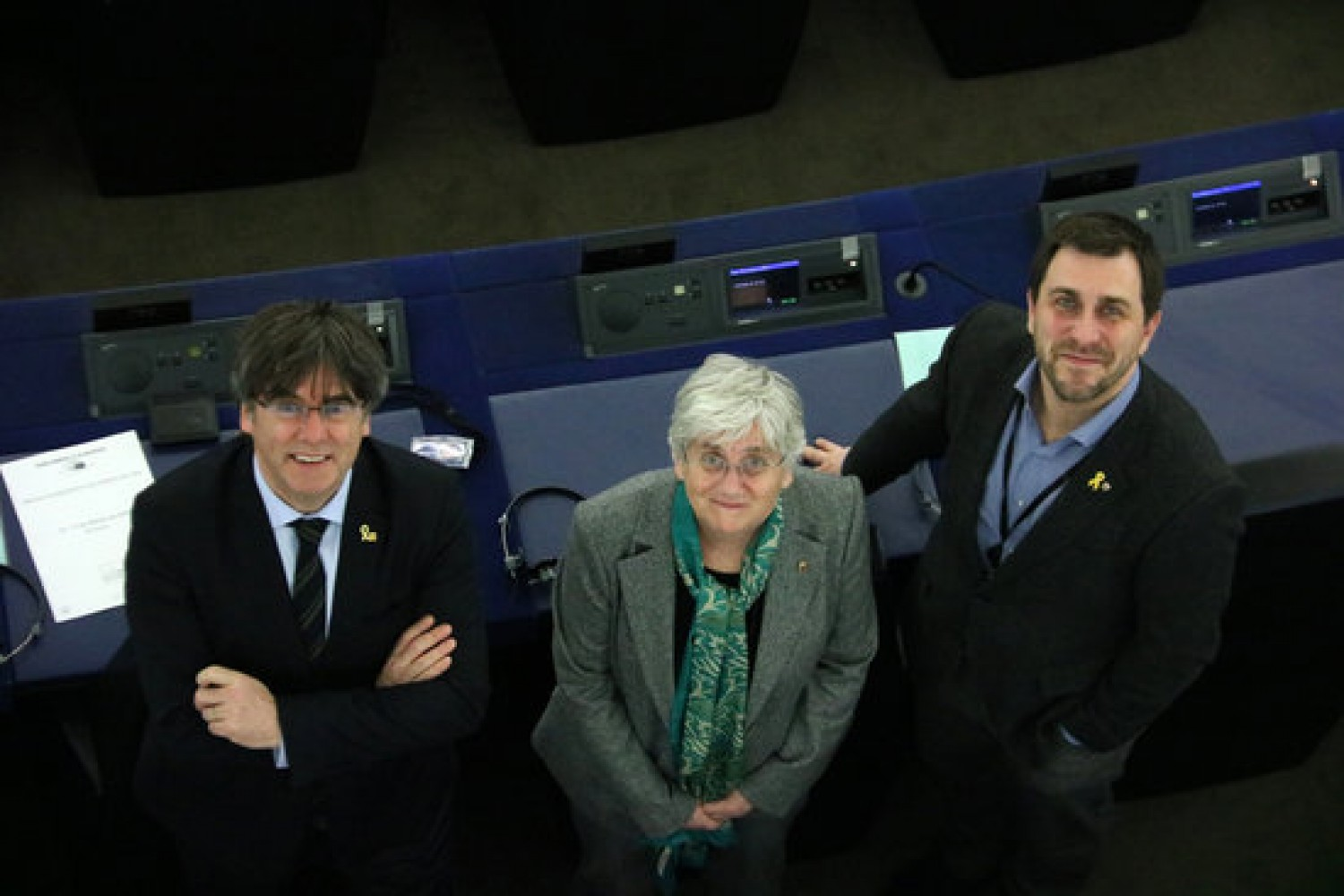 MEPs Toni Comín, Clara Ponsatí and Carles Puigdemont at the European parliament in Strasbourg, February 20, 2020 (by Natàlia Segura)