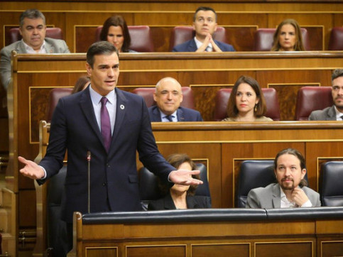 Spanish president Pedro Sánchez speaking in the congress session on Wednesday, February 12, 2020 (image loaned by Spanish Congress)