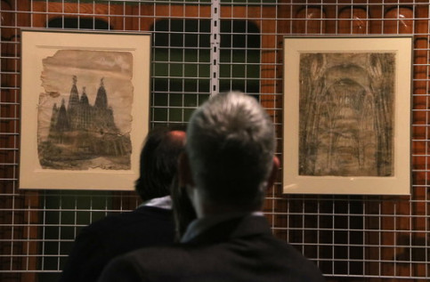 Two Antoni Gaudí drawings of the Colònia Güell church diaplyed in the National Art Museum of Catalonia shortly after the government acquired the works (by Pau Cortina)