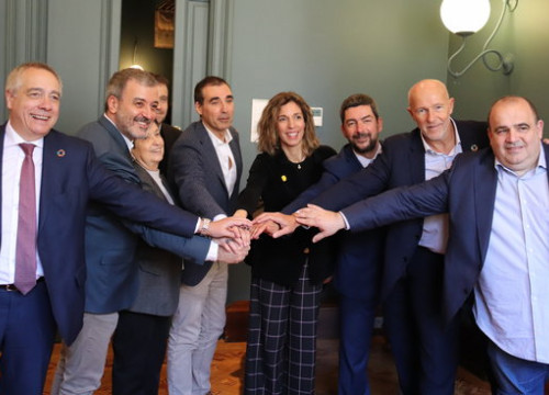 Business minister Àngels Chacón, Chairperson of Barcelona Tech City Miguel Vicente, Jaume Collboni of Barcelona City Council, MWCapital CEO Carlos Grau, Head of Barcelona Chamber of Commerce Joan Canadell, February 18, 2020 (by Lluís Sibils)