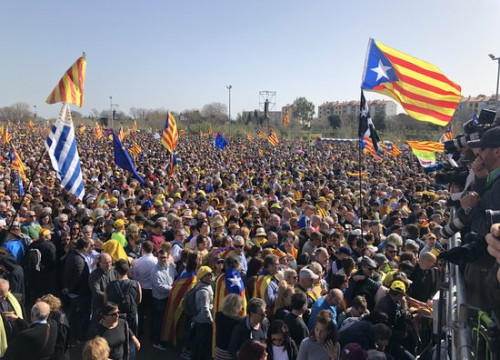 Thousands of pro-independence supporters in Perpignan, on February 29, 2020 (by Elisabet Don)