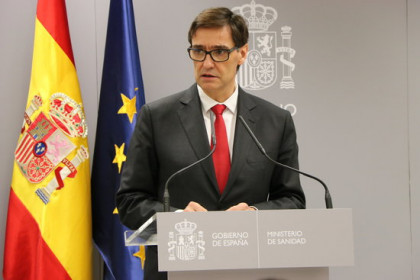 Salvador Illa, Spanish health minister, speaking in a press conference in March, 2020 (by Andrea Zamorano)