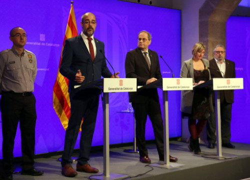 Image of the home affairs minister, Miquel Buch, the Catalan president, Quim Torra, and the health minister, Alba Vergés, on March 11, 2020 (by Maria Belmez)