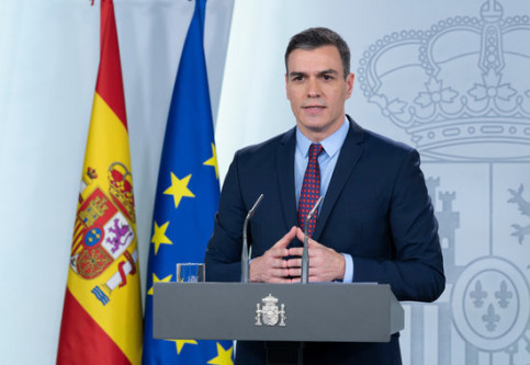Spanish president Pedro Sánchez gives a press conference on the coronavirus crisis in the country (by Pool Moncloa / JM Cuadrado i Borja Puig de la Bellacasa)