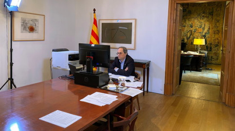 President Quim Torra on a video conference call, April 2, 2020 (photo courtesy of Catalan governement)