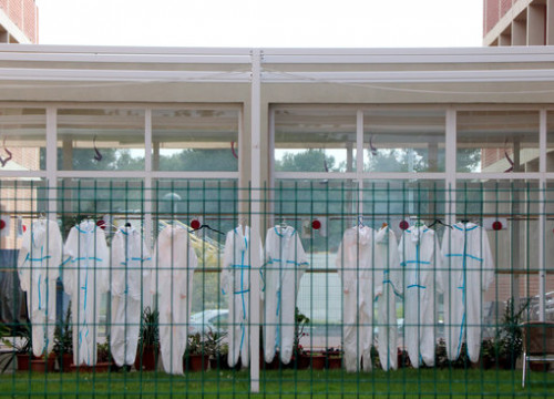 Protective clothing dries in a courtyard in Nostrallar dels Pallaresos care home, April 8, 2020 (by Roger Segura)