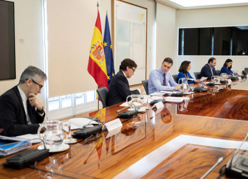 The Spanish government key ministers and its president, Pedro Sánchez, meeting in Madrid, on April 12, 2020 (by Pool Moncloa/Borja Puig de la Bellacasa)