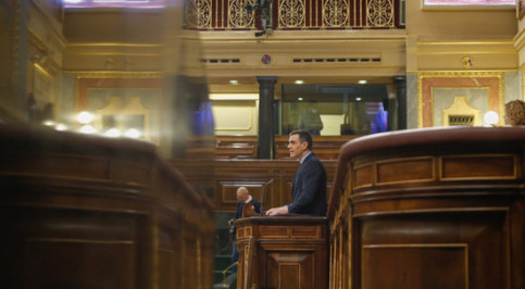 The Spanish president, Pedro Sánchez, in congress on April 22, 2020 (by Spanish congress)