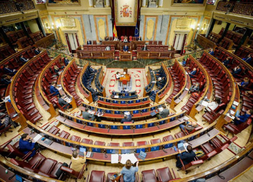 The Spanish congress debate and vote on the fourth extension of the state of alarm on May 6, 2020 (image courtesy of the Spanish congress)