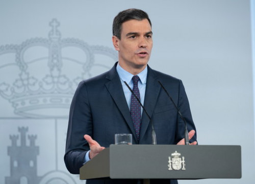 Spanish president Pedro Sánchez during a press conference, May 9, 2020 (by Moncloa)