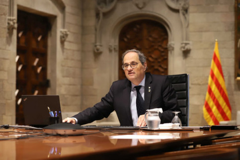 The Catalan president, Quim Torra, meeting by videocall with Spain's leader and other regional preisdents, on May 5, 2020 (by Rubén Moreno)
