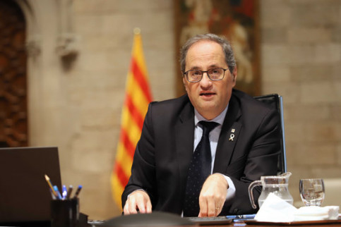 Catalan president Quim Torra during conference call with Spanish president and regional heads, May 10, 2020 (by Rubén Moreno)