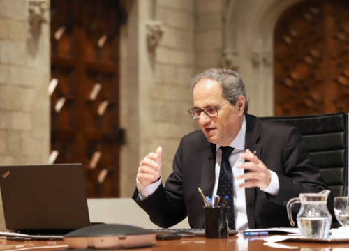 Catalan president Quim Torra speaking of the National Pact for a Knowledge-Based Society on May 13, 2020 (by Rubén Moreno)