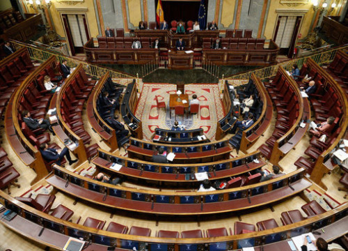 The Spanish congress on the day of the vote of the fifth extension of the state of alarm during the coronavirus crisis, May 2020 (image from Spanish congress)