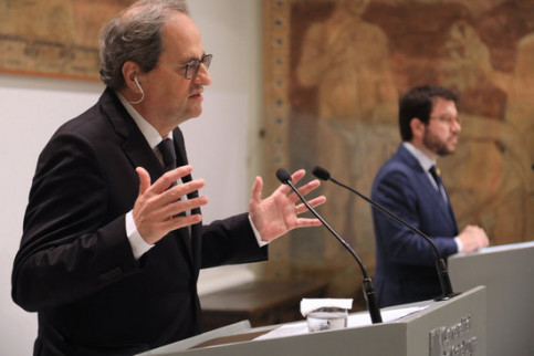 The Catalan president, JxCat's Quim Torra (left), with the vice president, ERC's Pere Aragonès, on June 2 (by Jordi Bedmar/Government)