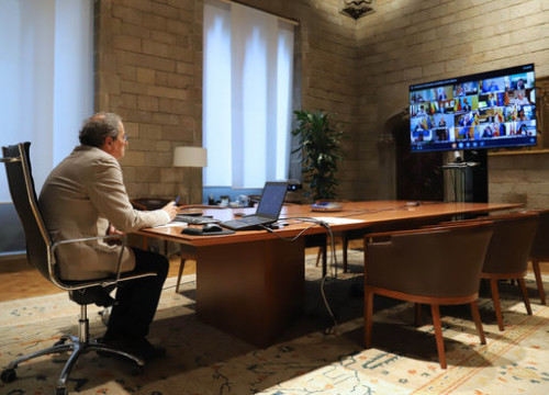 Catalan president Quim Torra takes part in a video conference with Spain's regional presidents (by Catalan government)
