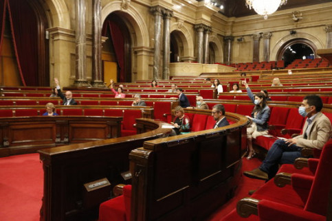 Members of the Catalan parliament vote on various motions put forward after the plenary sessions on the management of the Covid-19 crisis (by Sílvia Jardí)