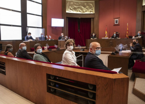 Image of the five former MPs in the dock during their trial in TSJC, on July 21, 2020 (by Jordi Play)