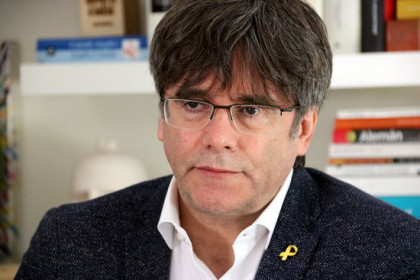 The former Catalan president, Carles Puigdemont, during an interview with the Catalan News Agency on July 21, 2020 (by Nazaret Romero)