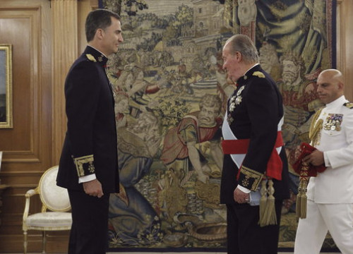Archive image of Spanish king, Felipe VI, with his father and predecessor, Juan Carlos