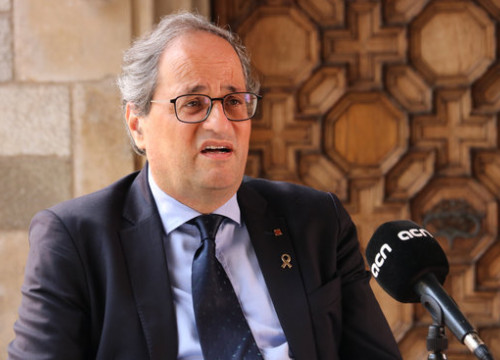 The Catalan president, Quim Torra, during an interview with ACN in the government HQ, in Barcelona, on August 17, 2020 (by Bernat Vilaró)