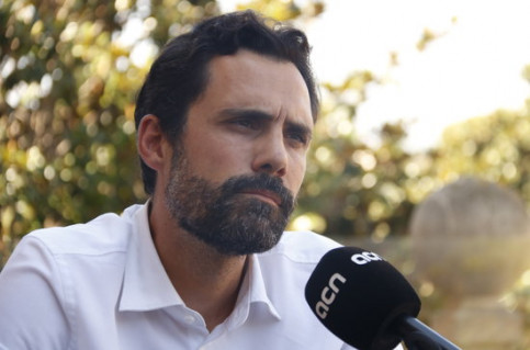 Parliament speaker Roger Torrent during an interview with the Catalan News Agency (ACN), August 28, 2020 (by Gerard Artigas)