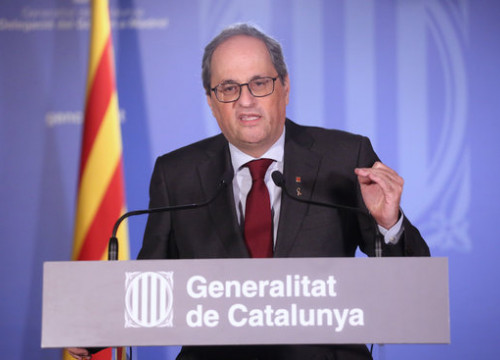 President Quim Torra at the Catalan delegation in Madrid following his Supreme Court hearing, September 17, 2020 (Jordi Bedmar/Catalan government)